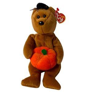 Ty Beanie Baby Hocus Brown Bear W/Pumpkin & Spider On His Head October 29, 2004